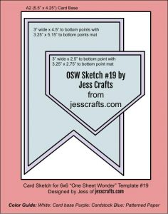 Card Sketch for One Sheet Wonder Cardmaking Template #19 by Jess Crafts